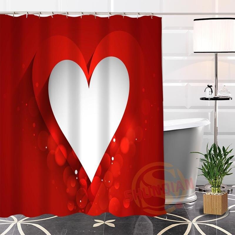 100% Polyester love Heart Fabric Shower Curtain Custom Modern Popular bathroom With Hooks New arrival Curtains