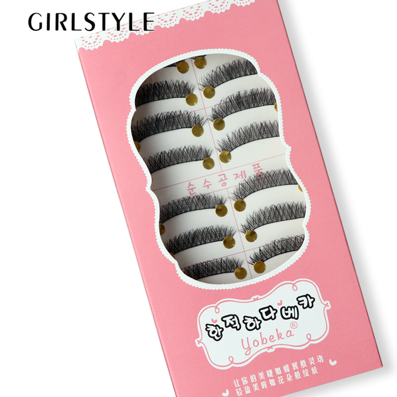 GIRLSTYLE Flash Eyelashes Makeup 10 Pairs/Sets Full Strip Lashes Crisscross Extention Long Slim Eyelashes Cosmetic Tool