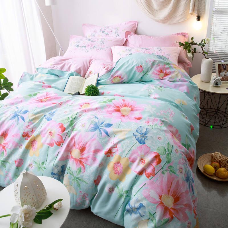 Pink Flower Garden Bedding Set Queen Full Size For Girls
