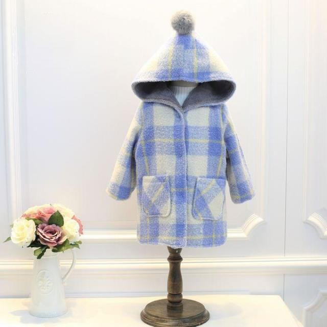Winter New Children's Plaid Coats Baby Girl Wool Hooded Blazer Jackets Kids Velvet Thick Purple Outwear Children's Clothing 4-8Y