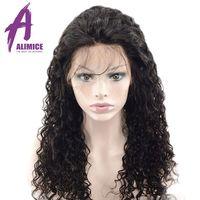 Alimice волосы волна воды 360 кружевных фронтальных париков бразильские Remy полный конец человеческих волос парики с волосами младенца предвари