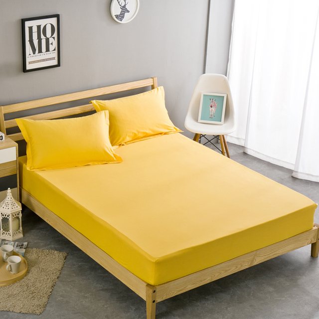 Solid Color Sheets Fitted Bed Sheet Elastic Mattress Cover Bed Linen  Bedspread Pillow Case 100%