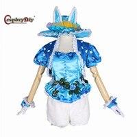 Cosplay Blue Bunny Rabbit Costume Adult Women Halloween Carnival Cosplay Top Shorts Hat Custom Made