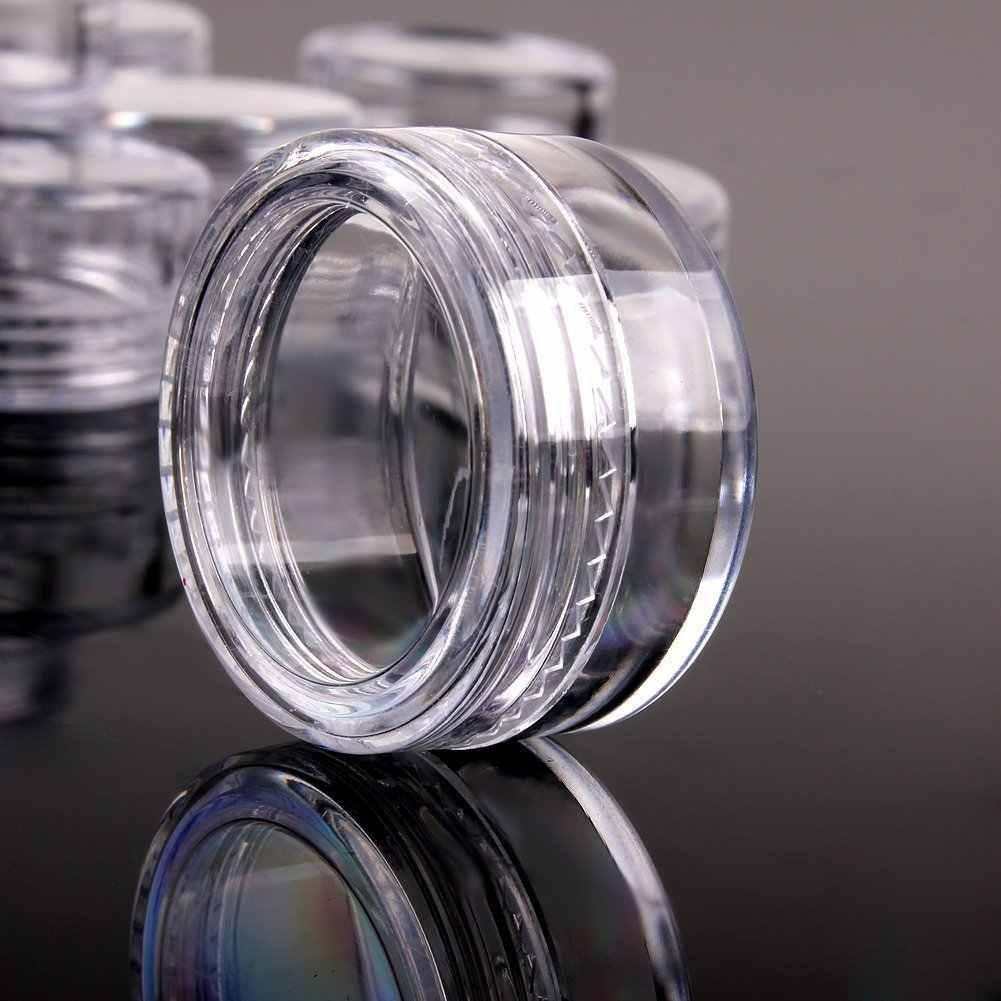 10 Pcs 2G/5G Transparan Plastik Kecil Putaran Botol Glitter Bubuk Botol Kosmetik Paket Trial Kotak Penyimpanan slime Aksesoris Alat