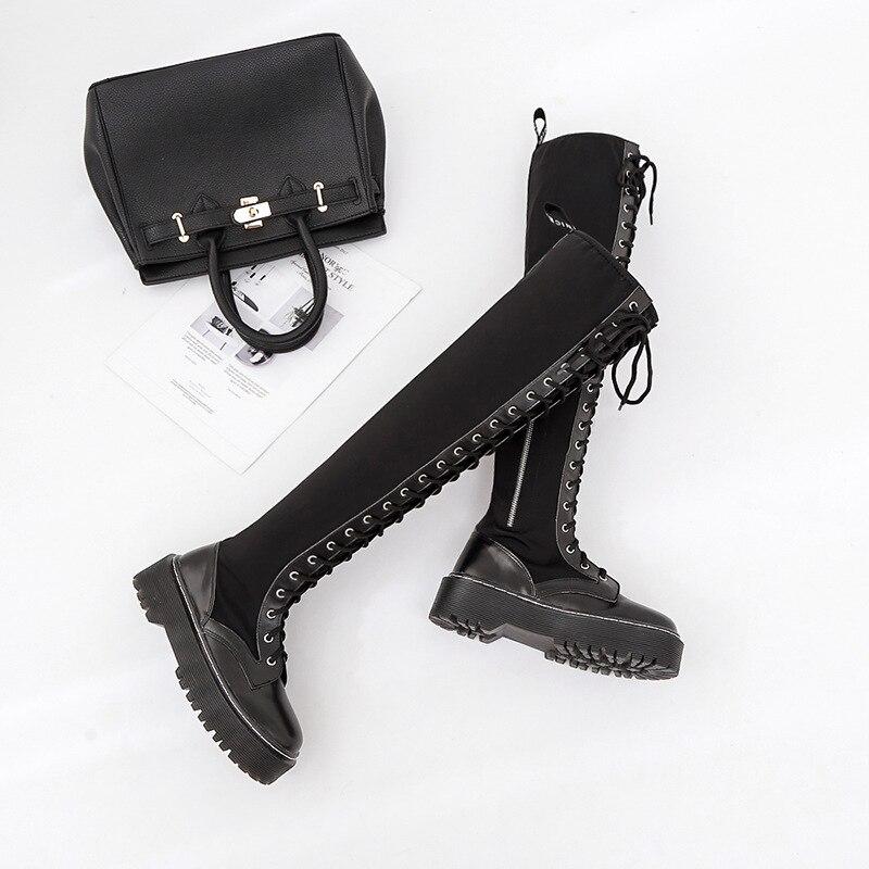 Bottes de moto punk européennes et américaines avec éponge gâteau fond épais bottes hautes élastiques sur le genou bottes de femmes.