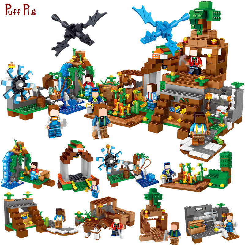 771pcs 8 in1 Minecrafted Manor Estate Village Model Building Blocks Sets Dragon Figures Compatible Legoed City Bricks Toys Child 771pcs 8in1 minecrafted manor estate house my world model building blocks bricks set compatible legoed city boy toy for children