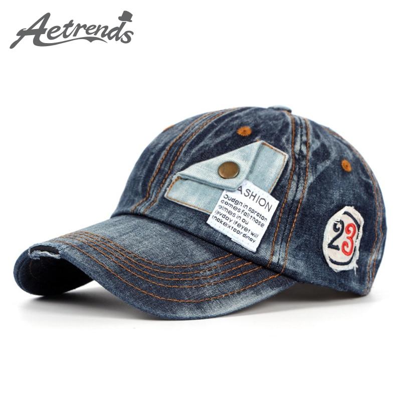 [AETRENDS] قبعات الدينيم القطن الجدة للرجال أو النساء قبعات البيسبول Z-2217