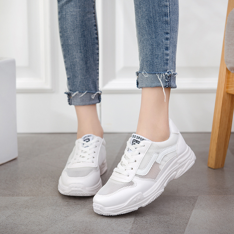 2018 Summer Ladies Retro Casual Mesh Shoes Platform Sneakers Women Outdoor Breathable Fashion Casual White Shoes Walking Shoes