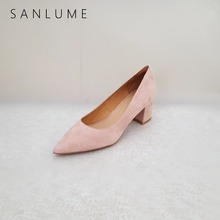 SANLUME NEW 5.5 CM Autumn Pink Suede Genuine leather Chunky Pumps Women Office Shoes Woman Sweet High Heels Slip On Pointed Toe недорго, оригинальная цена
