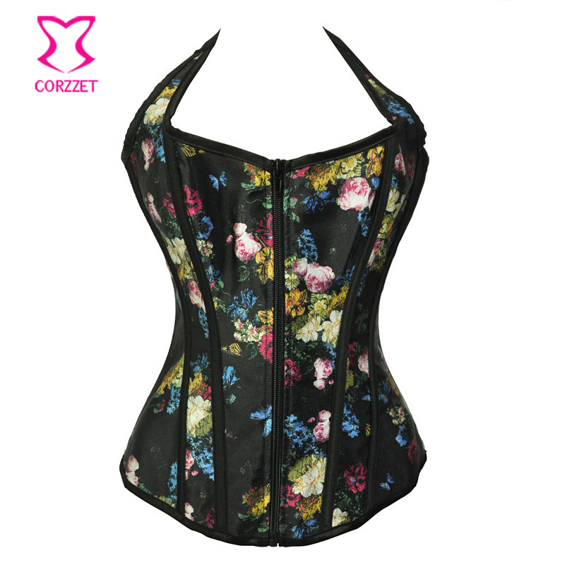 Black Floral Printed Satin Halter Neck   Corsets   And   Bustiers   With Zipper Gothic   Corset   Burlesque Korsett For Women Sexy Corsage