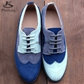 Genuine leather women flat shoes round toe flats handmade shoes woman US size 11 vintage 2017 oxford shoes for women blue grey