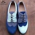 Zapatos de las mujeres planas pisos de punta redonda de cuero genuino mujer zapatos hechos a mano el tamaño de EE.UU. 11 vintage 2017 zapatos oxford para las mujeres azul gris