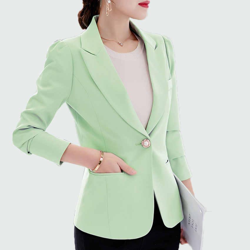 6881ef5f15a Women Blazer 2018 New Autumn Blazer Femme Long Sleeve Single Button 6  Colors Plus Size S