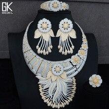 Godki Luxe Kwasten Bloem Kubieke Zirkoon Crystal Cz Nigeriaanse Sieraden Sets Voor Vrouwen Wedding Indiase Kralen Sieraden Set 2018