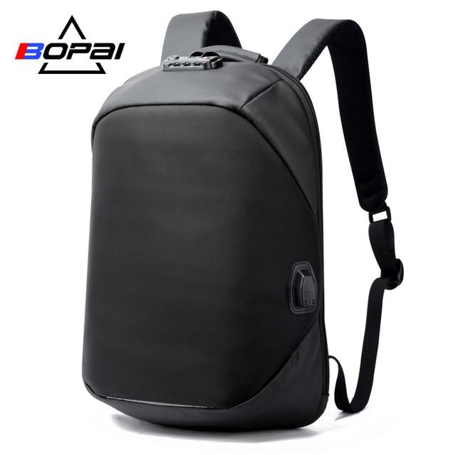 BOPAI Brand USB External Charge Backpack Laptop Bag Shoulders Men Password Lock Anti-theft Backpack Waterproof Laptop Backpack
