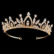 Wedding Party Bridal Prom Elegant Gold Color Tiara Rhinestone Flower Headband Crown for Brides Lady Women(China)