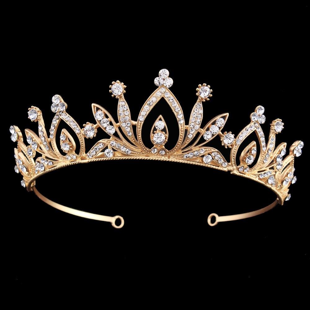 Wedding Party Bridal Prom Elegant Gold Color Tiara Rhinestone Flower Headband Crown for Brides Lady Women