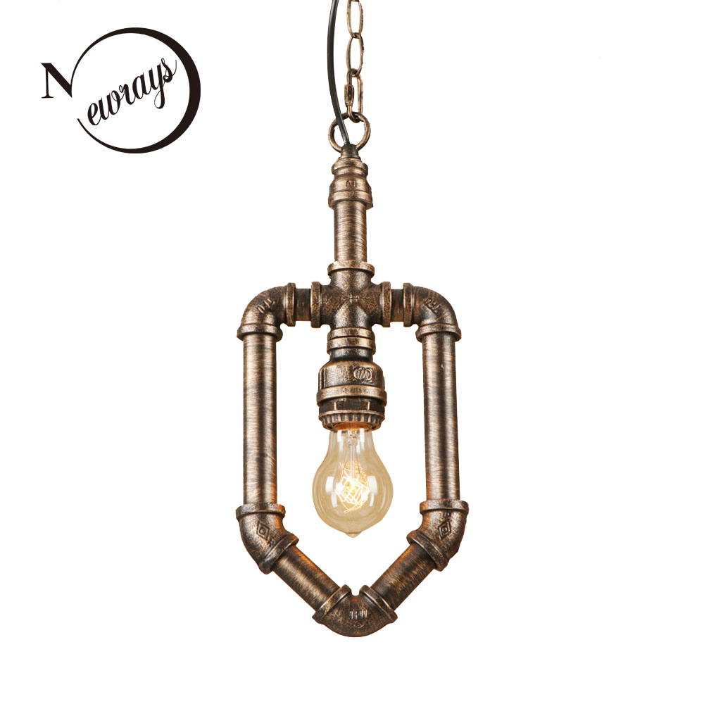 цена на Vintage iron painted brown retro hanging lamp LED lamp Pendant Light Fixture E27 220V For Kitchen dining room bed room cafe bar