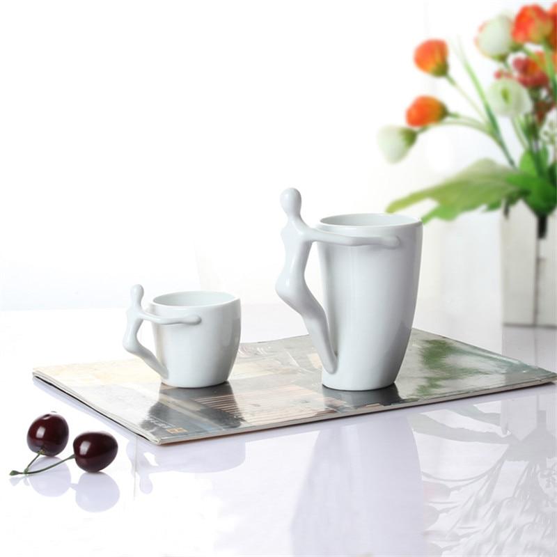 Unique Shaped Coffee Mugs aliexpress : buy doll handle white ceramic cartoon mugs unique