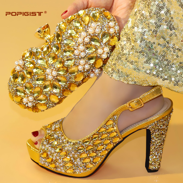 Evening Bag With Shining Big Crystal Sky Blue Italian Shoe with Matching Bag Shoes and Bag Set African Shoes for Women Shoes Bag