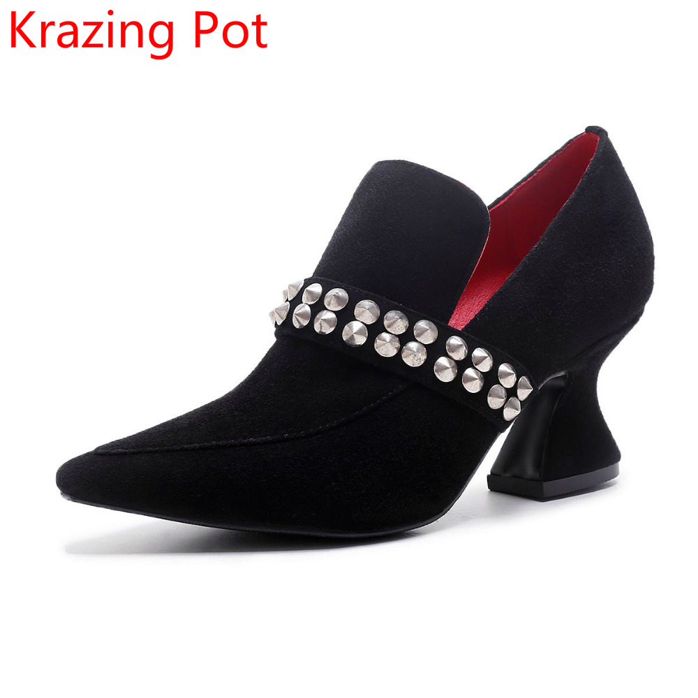 2017 Fashion Brand Shoe Kid Sude High Heels Slip on Rivets Women Pumps Pointed Toe Concisel Runway Sweet Party Wedding Shoes L37 2018 new arrival women brand shoe super high heels slip on tassel superstar party woman pumps round toe casual wedding shoes l07