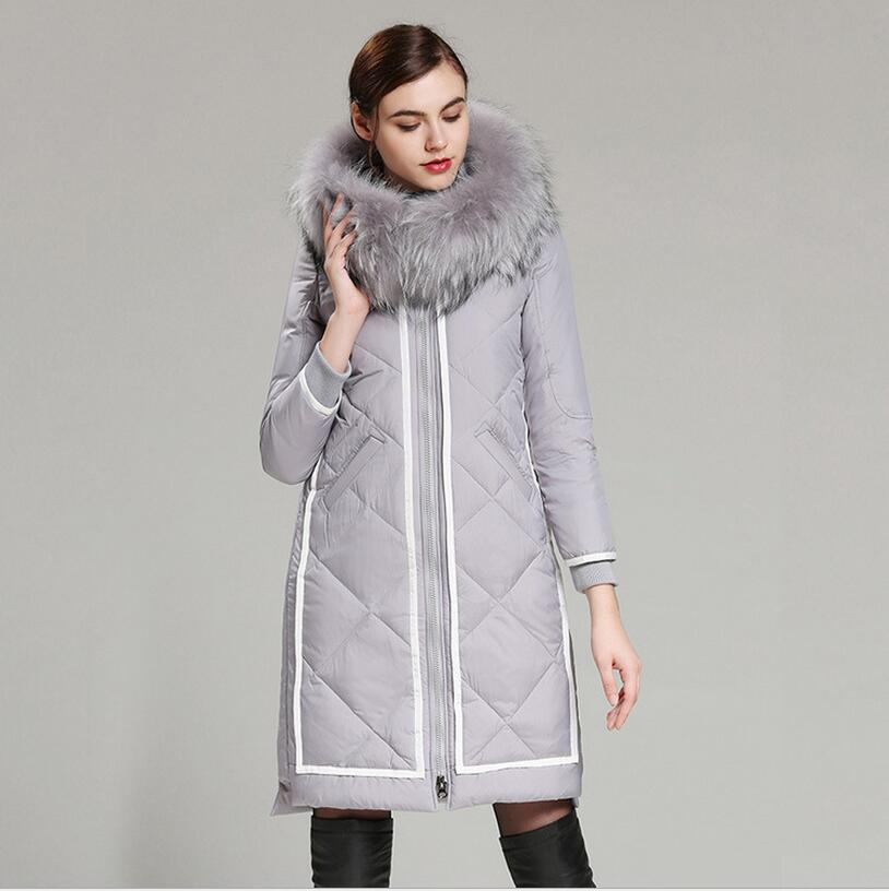 2017 Winter Jacket Women   Down   Jackets fashion Women's medium-long   down     coat   plus size slim high quality Outerwear fur Hooded