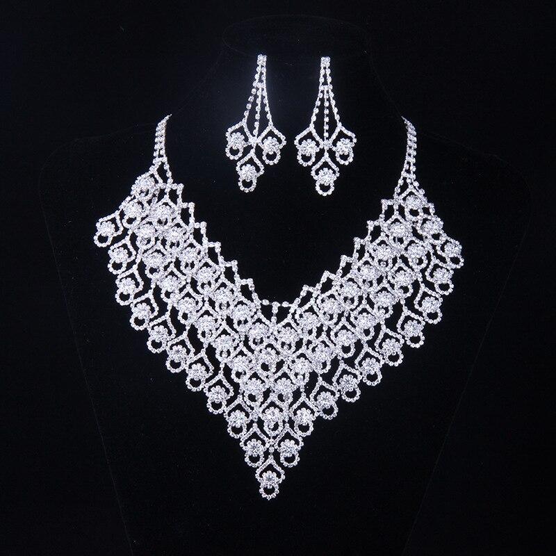 2016 Austrian Crystal Jewelry Sets For Women Fashion Zinc Alloy Jewellery Bridal Wedding Necklace Earrings Jewelry Sets N114 retro style zinc alloy owl earrings for women golden