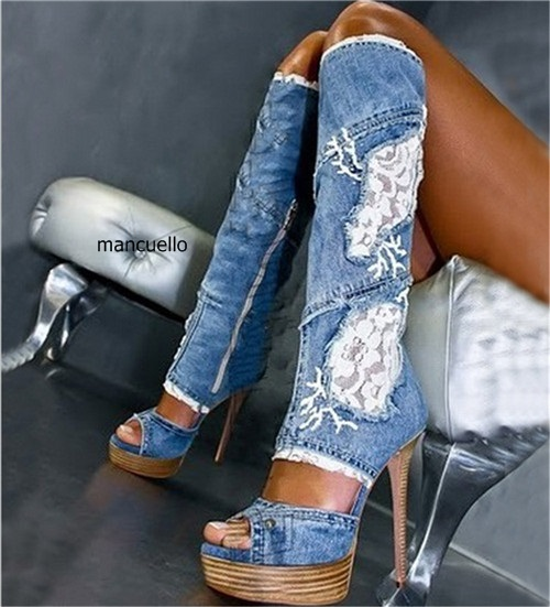 New Design Women Knee Denim Matched Lace Flower Print Knee High Boots Fashion Peep Toe Stiletto Heels Sandal Booties Hot SellingNew Design Women Knee Denim Matched Lace Flower Print Knee High Boots Fashion Peep Toe Stiletto Heels Sandal Booties Hot Selling