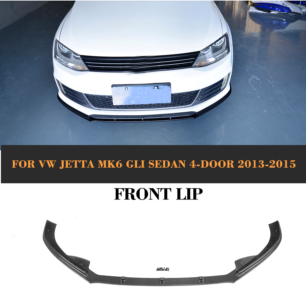 Carbon Fiber Front Lip Spoiler for Volkswagen VW Jetta GLI MK6 Sedan 4 Door 2013-2015 Black FRP Car Styling