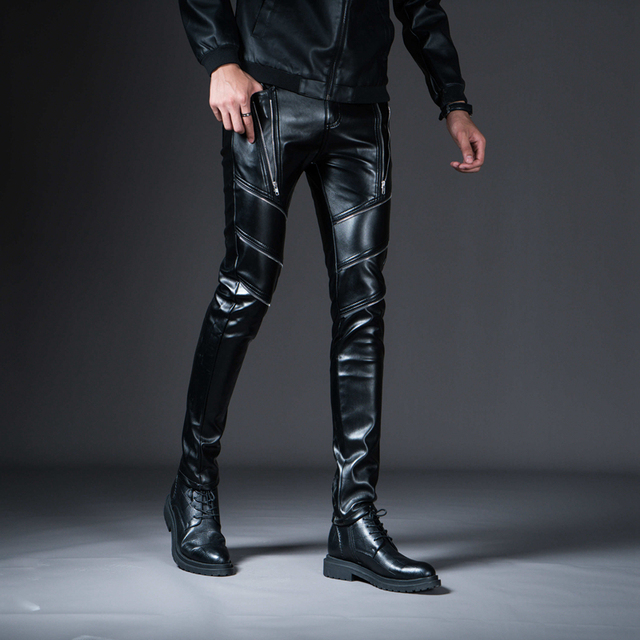 New Winter Spring Men's Skinny Leather Pants Fashion Faux Leather Trousers For Male Trouser Stage Club Wear Biker Pants 2