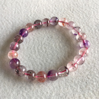 Natural Genuine Purple Hair Crystal Multi Colors Mix Super 7 Seven Bracelet Round Melody Stone 8mm