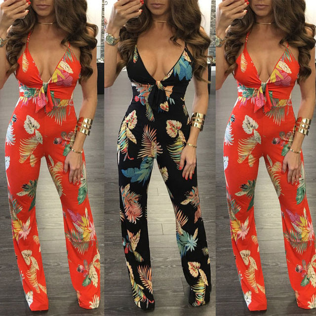 260218c407 Women Clubwear V Neck Playsuit Bodycon Party Jumpsuit Romper Trousers UK  6-14 Ladies Womens Sexy Flower Print Jumpsuits Rompers