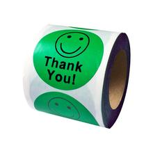 Thank You Smiley Face Happy Stickers 500 Adhesive Labels Per Roll green as promotional label