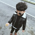 New Winter Fashion Kids Leather Jacket Boy PU Velvet Jacket Children Leather Outwear for Boy Baby Girl Jackets Kids Coat 1-5 T