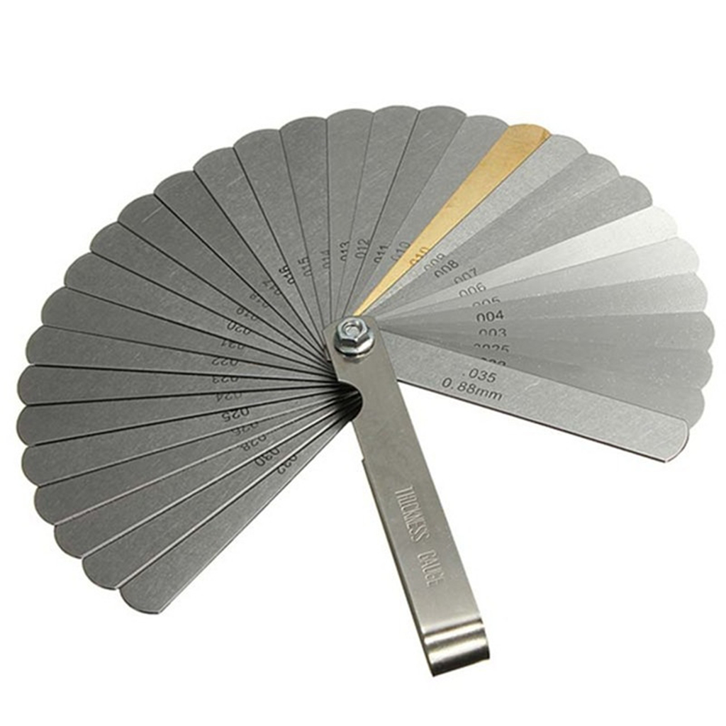1PC Stainless Steel 32 Blades Feeler Gauge Metric Gap Filler 0.04-0.88mm Thickness Gage For Measurement Gauging Measuring Tool
