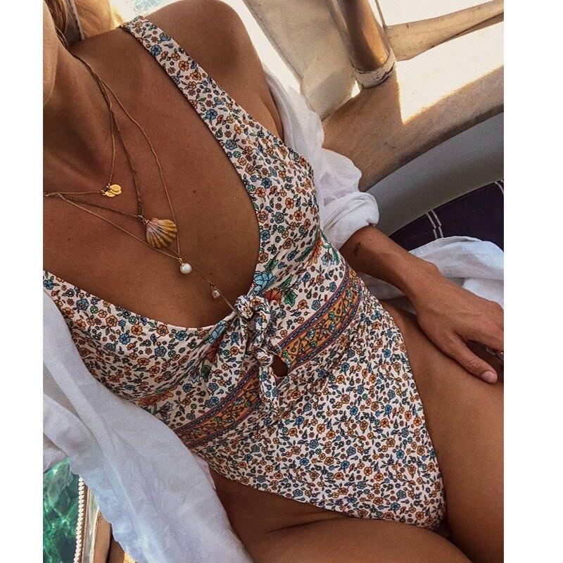 2019 New Sexy One Piece Swimsuit Deep V Swimwear Women Ruffle Flounce Beach Wear Strappy Monokini Backless Print Bathing Suit