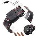 Retro Genuine Leather Watchbands Strap Men Handmade Double Thread Stitching Watch Band 22mm 24mm Wristwatches Belt Accessories