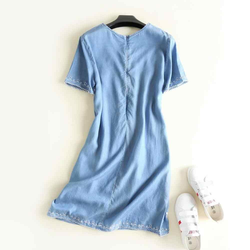 2019 женское летнее джинсовое платье с коротким рукавом и вышивкой голубого цветка короткое для вечеринки