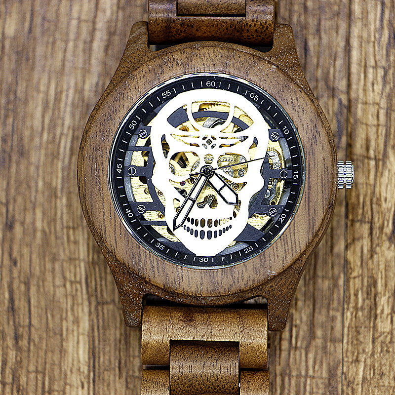 Antique Mens Automatic Mechanical Full Wood Watches Fashion Skeleton Skull Dial Wooden Self Winding Wristwatch relogio masculino airsoft adults cs field game skeleton warrior skull paintball mask