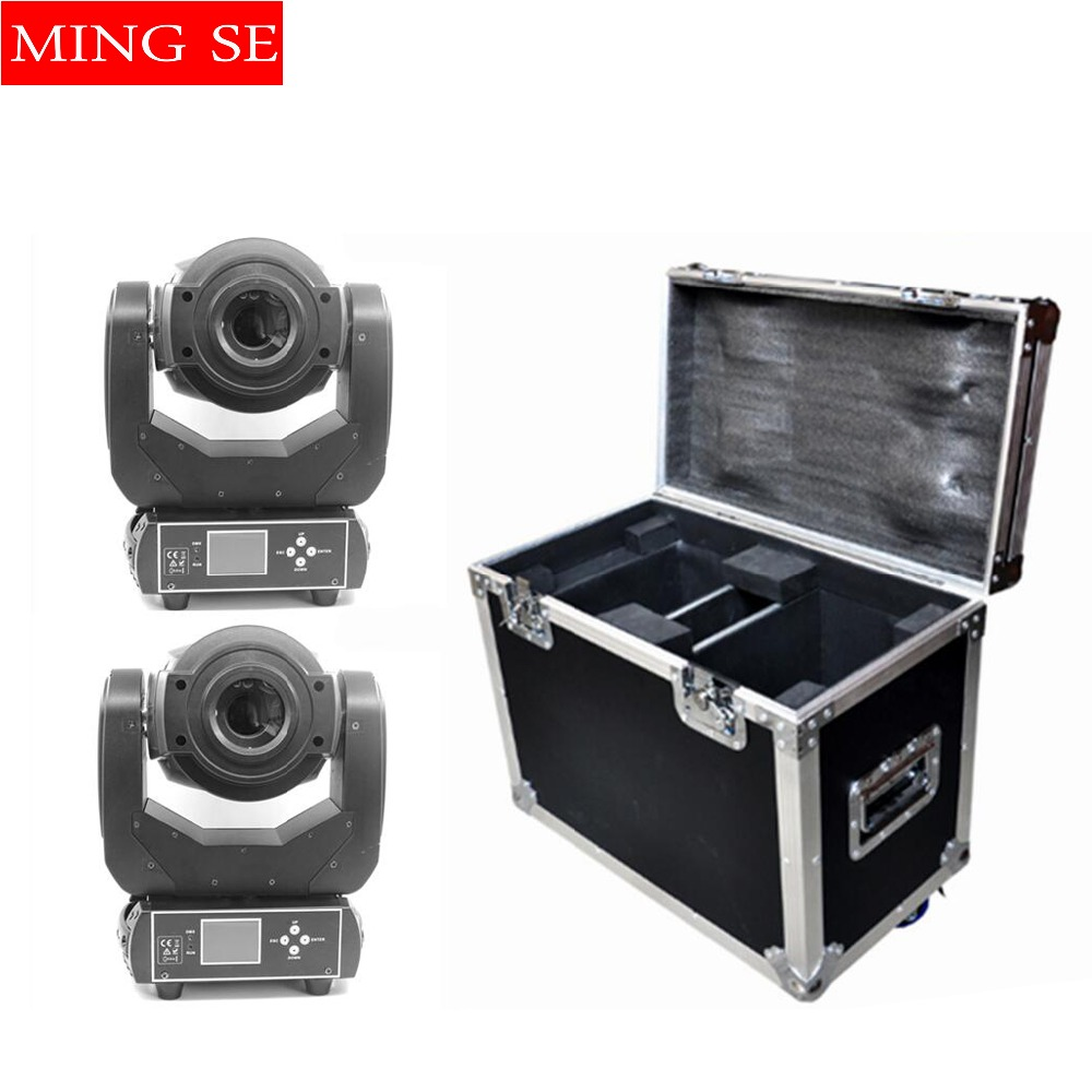 2pcs 90W LED Moving Head Light 3Face Prism Spot Light with Rotation Gobo Function for DJ Disco Stage Projector with flight case