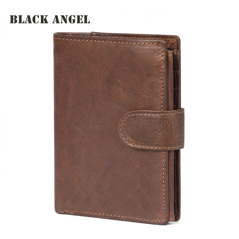 BLACK ANGEL Vintage Genuine Leather Men Wallets Cowhide Leather Vertical Trifold Wallet With Card Holder Fashion Purse 2017 new cowhide genuine leather men wallets fashion purse with card holder hight quality vintage short wallet clutch wrist bag
