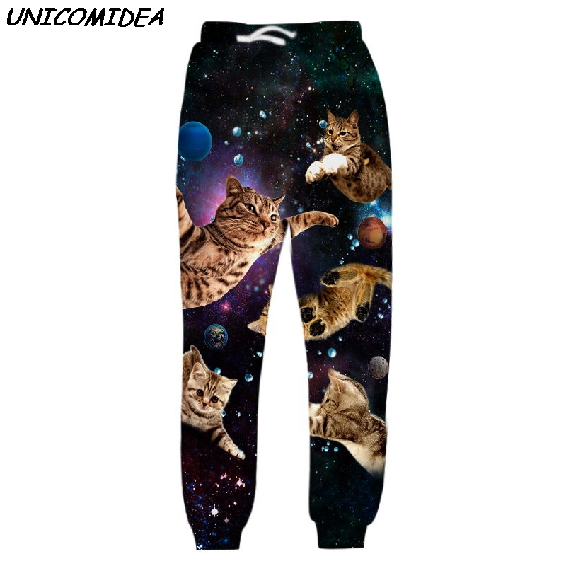 Men Sweatpants Cute Cats 3D Pants Galaxy Space Loose Trousers Pantalones Hombre Stary Night Summer Autumn Joggers Pants Unisex