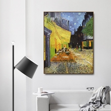 Cafe terrace night by Von Gogh Poster Print Canvas Painting Calligraphy Home Decor Wall Art Pictures for Living Room Bedroom