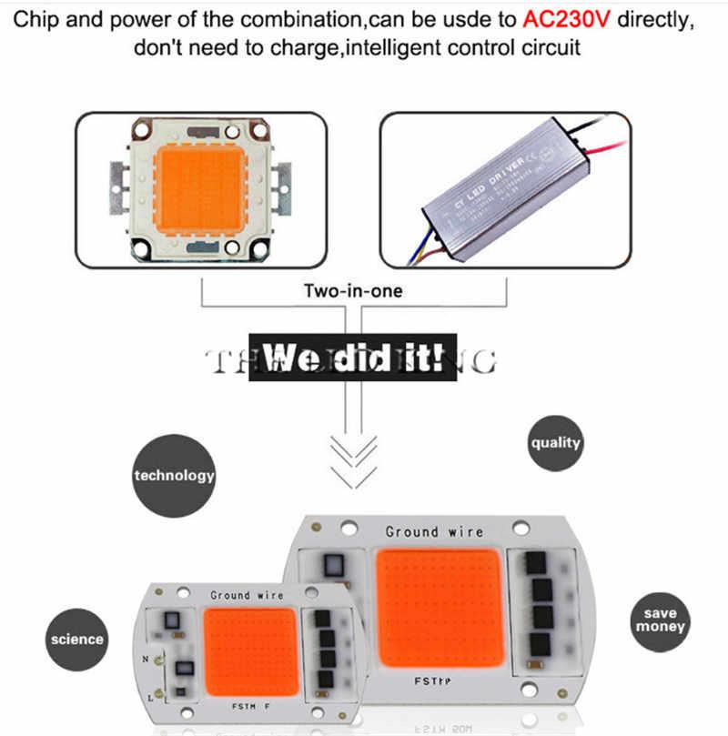 110 В 220 В COB светодиодный чип Фито лампа полный спектр 20 Вт 30 Вт 50 Вт 60 Вт 80 Вт 120 Вт светодиодный Диод для выращивания растений Fitolampy для комнатных саженцев