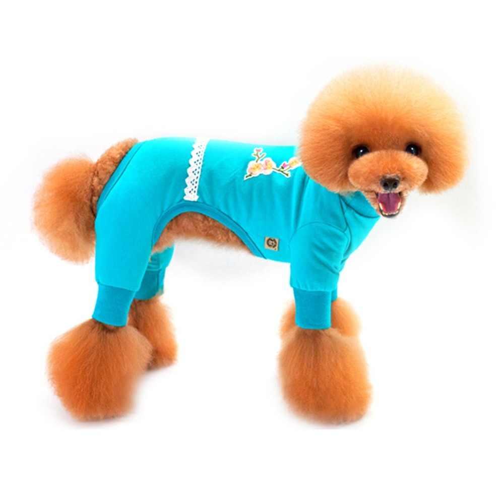 2 색 강아지 고양이 면화 벤드 코트 4 다리 운동복 자켓 중국 스타일 매화 귀여운 애완견 개 옷 5 크기