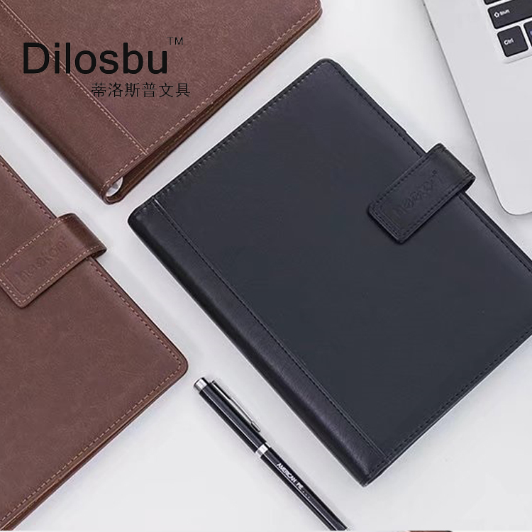 A5 B5 Dilosbu high class loose-leaf notebook leather spiral book business travel notepad with Card slot pen slot