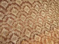 5Yard 120cm Width High Quality African Cord Lace Embroidered Tulle Fabric For Wedding Dress Golden Guipure