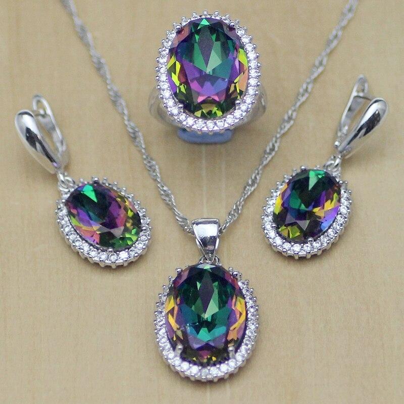 Jewelry-Set Fire-Zircon Rainbow Necklace/rings Women Mystic Silver T233