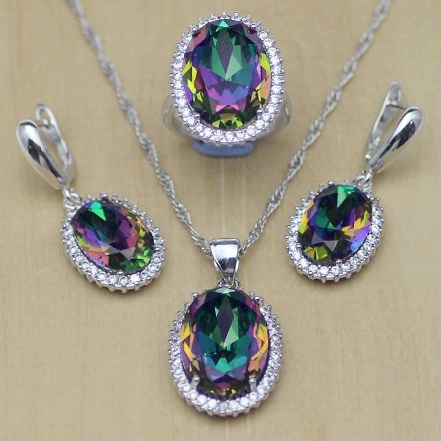 Mystic Rainbow Fire Zircon Jewelry Set Women 925 Sterling Silver Jewelry Wedding Earrings/Pendant/Necklace/Rings T233