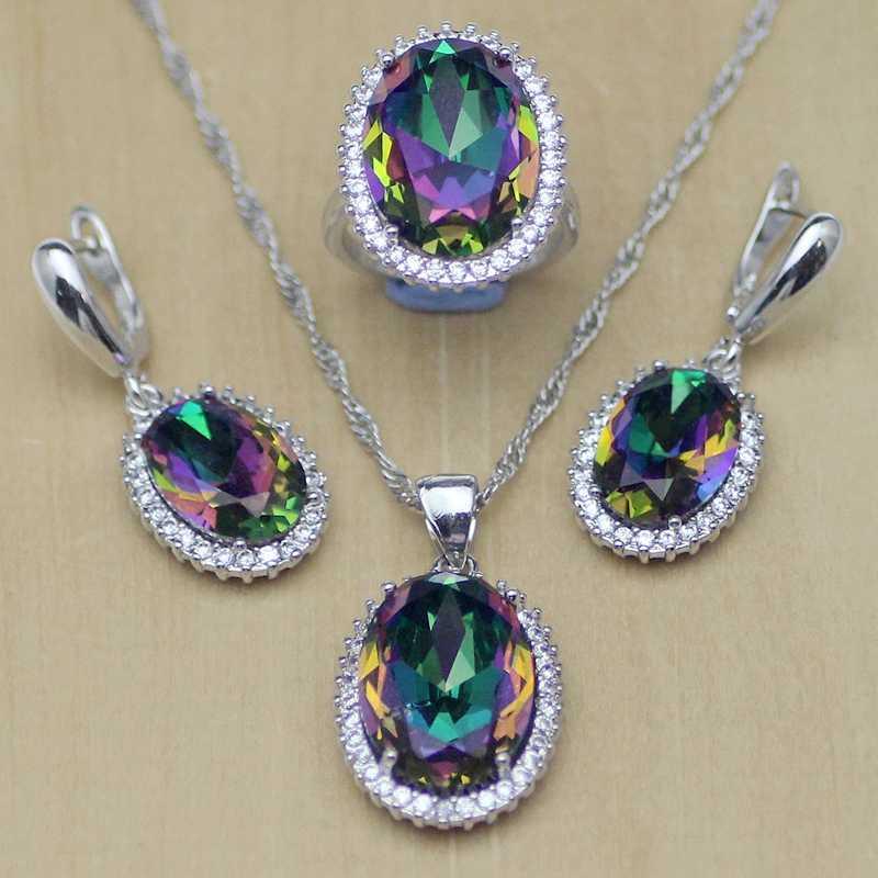 Mystic arc-en-ciel feu Zircon ensemble de bijoux femmes 925 bijoux en argent Sterling boucles d'oreilles de mariage/pendentif/collier/bagues T233